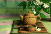 Tea ceremony in Japanese style — Stock Photo