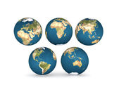 Earth globes with five continents — Stock Photo
