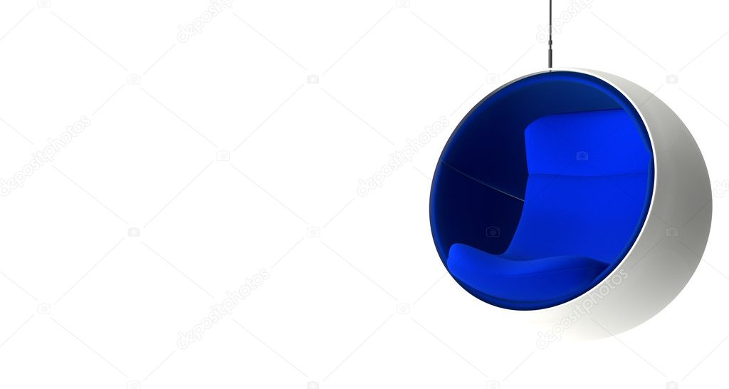 Hanging ball chair with blue seat - Stock Photo #11051563