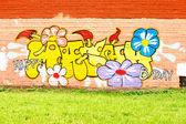 Graffiti with Happy Birthday congratulations on the wall — Stock Photo