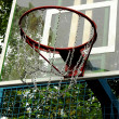 A basketball hoop on the street basketball court — Stock Photo