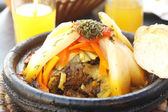 Morocco national dish - tajine of meet with vegetables — Stock Photo