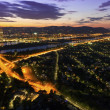 Vienna - Danube River & Island highway at night — Stock Photo