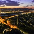 Vienna - Danube River &amp;amp; Island highway at night - Stock Photo