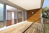 Sunlit balcony of contemporary architecture — Stock Photo