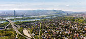 Panorama of Vienna with Danube River — Stock Photo