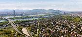 Panorama of Vienna with Danube River — Stock Photo