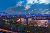 Skyline danube valley vienna at night — Stock Photo