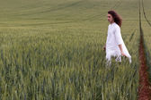 Spiritual daydreamer striding through a cornfield — Stock Photo