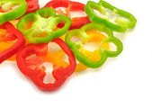 Pile of slices of colorful capsicums — Stock Photo
