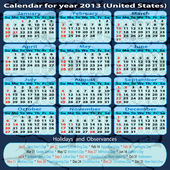 Calendar for year 2013 (United States) — Vettoriale Stock