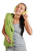 Happy sport girl with headphones — Stock Photo
