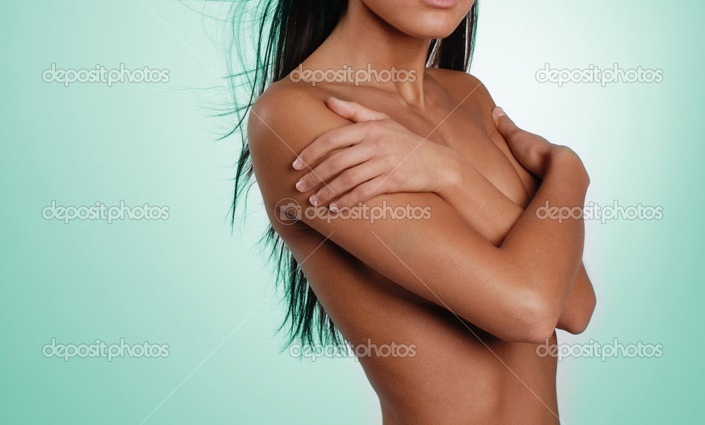 Nice women body on the blue background — Stock Photo #11513931