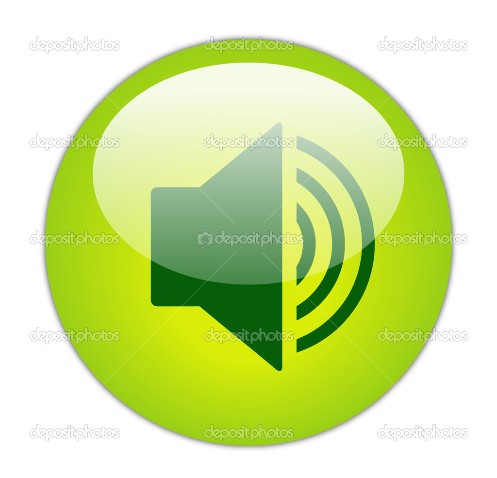 Glassy Green Increase Volume Icon Button — Stock Photo #10968658
