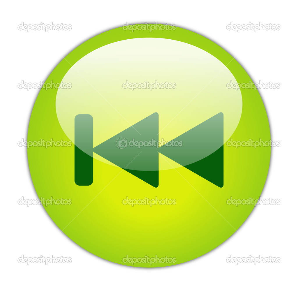 Glassy Green Previous Icon Button — Stock Photo #10968806