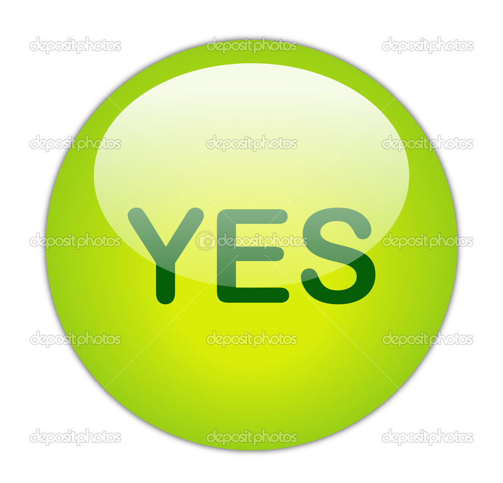 Glassy Green Yes Button — Stock Photo #10968873