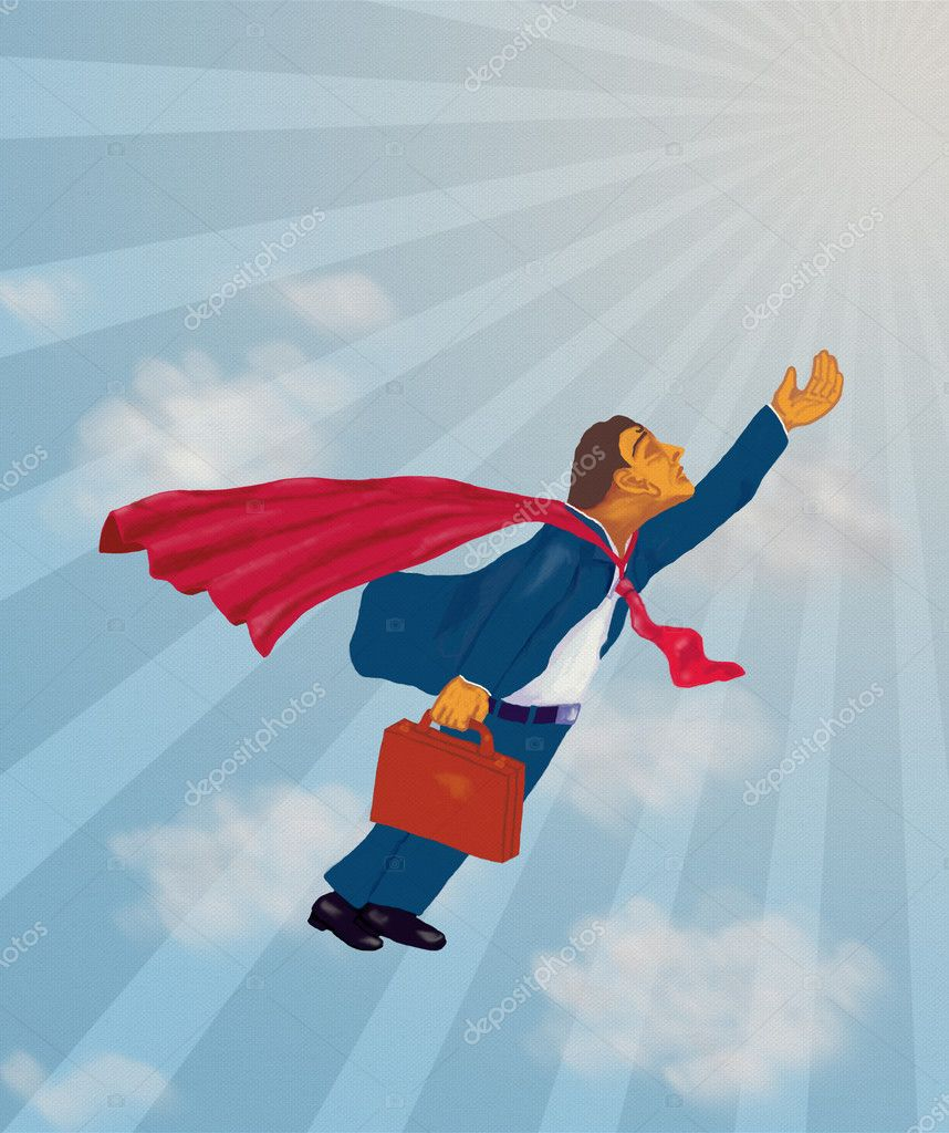 Super Performer Professional Flying High With Cape Representing Success Concept. — Stock Photo #11888428