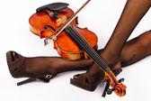 ヴァイオリンと疲れている女性. — ストック写真