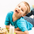 Stock Photo: Boy and pancakes