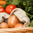 Stock Photo: Colorful vegetables in basket