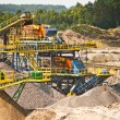 Sorting sand belts at gravel pit - Stock Photo