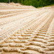 Stockfoto: Tire tracks on dirt