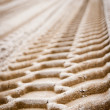 Stock Photo: Wheel tracks on sand