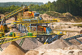 Sorting sand belts at gravel pit — Stock Photo