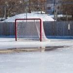 buz hokeyi buz eritme üzerinde net — Stok fotoğraf