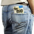 Travel map in back pocket — Stock Photo