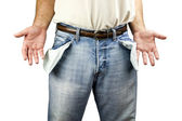 Man with empty pockets — Foto Stock