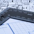 Stock Photo: Blue prints and ruler