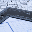 Blue prints and ruler — Stock Photo #11977152