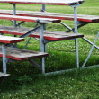 Red wooden bench — Stock Photo