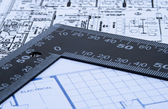 Blue prints and ruler — Stock Photo