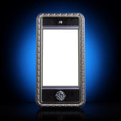 Exclusive mobile phone with blank screen. Iphone-style device — Stockfoto