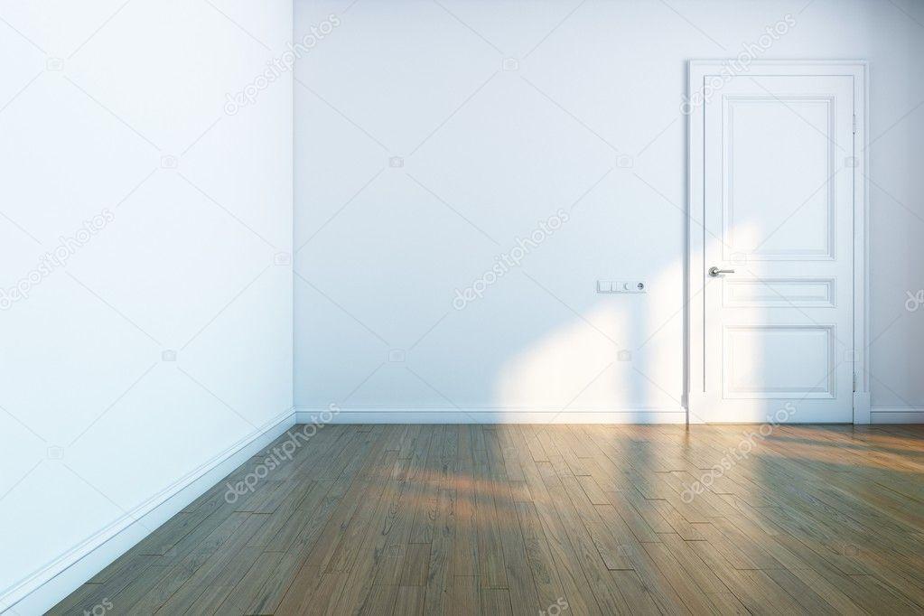 Blanc chambre avec parquet en bois et porte blanche for Porte blanche en bois