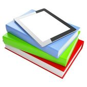 The progress of media. touchpad on the books isolated on white background (version with color books) — Stockfoto