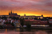 Sunset at the Castle of Prague — Stock Photo