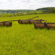 Old machinery on the fields — 图库照片