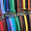 Stock Photo: Belts on market