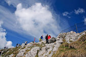 Hiker in Swiss mountains — Stock Photo