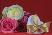 Heart shaped gift box with rose — Stock Photo