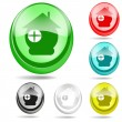 Colorful web icons set (green, yellow, red, blue and gray) — Stock Vector