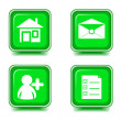 Web icons set green — Stock Vector