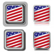 Square icons set for 4th july with flag — Stock Vector