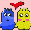 Two cute in love monsters — Stock Vector