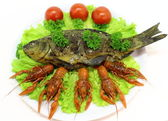 Smoked fish with boiled crayfish — Stock Photo