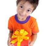 Little boy holding present box — Stock Photo