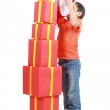 Child with stack gift box — Stock Photo